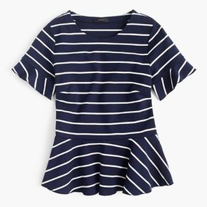 J. Crew navy/ white stripes peplum shirt